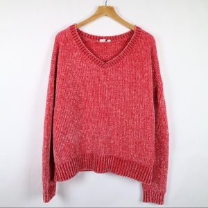 Gap red chenille relaxed fit v-neck sweater